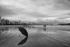 Days are only as gray as you allow them to BE... (Jordan_K) Tags: bw beach brazil umbrella people scenic scene rainydays love black life mood cinematic