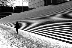 Along stripes (pascalcolin1) Tags: paris13 femme woman bnf neige stripes rayures snow marches steps escalier stairs photoderue streetview urbanarte noiretblanc blackandwhite photopascalcolin 5omm canon50mm canon