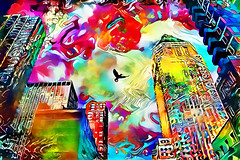 Yr City's a Sucker (jackaloha2) Tags: abstract color colorful city cityscape weird fantastical challenge bird fly vivid lcdsoundsystem nyc newyorkcity surreal