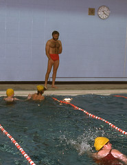 Swimming School (jericl cat) Tags: february 1976 shirtless men pecs chest pool swimsuit red swimming hairy man