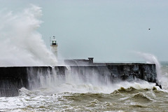 Stormy Sea (Croydon Clicker) Tags: wind waves sea ocean storm wall lighthouse spray choppy newhaven eastsussex