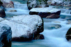 Soča, early morning (docoellerson) Tags: soča slovenia isonzo water river flow blue longtimeexposure rocks cascades greatphotographers
