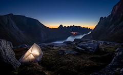 A night in the mountains (cfaobam) Tags: night camp senja norway norwegen fjord water wasser stein stone landscape landschaft europe europa nature national geographic cfaobam color travel photography magic light deep north outdoor dämmerung sonnenuntergang berg meer felsen globetrotter mirror spiegelung grytetippen gras camping tent dusk nightshot