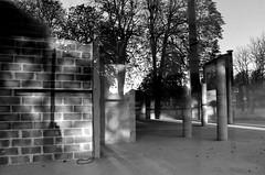 Calvaire du photographe (Jean-Luc Léopoldi) Tags: bw noiretblanc reflets ombre mur parpaings arbres arras vide piliers empty béton colonnes fusion intérieurextérieur croix