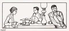 Three people in a dining room by Julie de Graag (1877-1924). Original from The Rijksmuseum Digitally enhanced by rawpixel (Free Public Domain Illustrations by rawpixel) Tags: nam afternoontea antique artwork character dining diningroom drawing family father group handdrawn home house illustrated illustration juliedegraag knitting lifestyle mother name old pdrijks people publicdomain relaxing rijksmuseum sketch son teatime thinking vintage woodcut