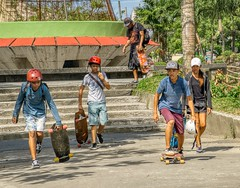 Boarding Over (Beegee49) Tags: street people teens boys girl filipina skateboarding smiling happy planet sony a6000 silay city philippines asia