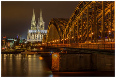 Hohenzollernbrucke Bridge and Köln Cathedral. 🇩🇪 (Ian Emerson (Thanks for all the comments and faves) Tags: cologne cathedral bridge architecture beauty river railway trains night rhine illuminated lights spires germany city cityscape steel lovelocks longexposure canon 6d 50mm