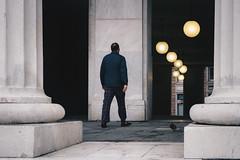 Paths of light (i) (FButzi) Tags: genova genoa liguria italy italia teatro carlo felice street man pigeon lights