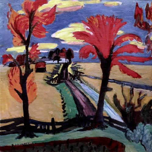 IMG_5163 Jan Wiegers 1893-1959 Amsterdam Landscape with red trees. Paysage avec des arbres rouges 1922 Groningen.   Groninger museum  (prêt du Steldelijk Museum d'Amsterdam)