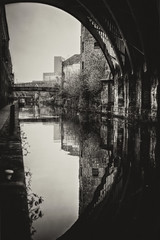 Manchester (Missy Jussy) Tags: canal onthecanal manchester city urban bridge reflections water waterways buildings walls walkways footpath shadows light outdoor outside naturallight mono monochrome sepia blackwhite bw blackandwhite 50mm ef50mmf18ll ef50mm canon50mm fantastic50mm canon5dmarkll canon5d canoneos5dmarkii canon plants boat