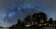 Sea-to-Sky Milkyway (james c. (vancouver bc)) Tags: mountain lights arch panorama panoramic landscape yellow reflection brunswickbeach bc canada night park ocean outdoor peaceful rock driftwood village house sky tree vancouver water britishcolumbia blue green orange starfield atmosphere background cluster coast constellation galaxy infinite milkyway nature pacific science sea space star starry stellar twinkle universe vast seatosky highway