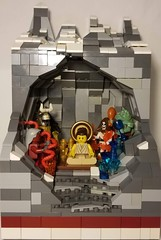 Milarepa Defeats the Demons of Red Rock Jewel Valley (Flounder's Bricks) Tags: lego afol buddhism buddhist folklore myth tibet valley demons fear wrath gluttony death mountains scripture saint bodhisattva