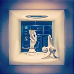 Cosmopolitan (Starrgalla) Tags: softhues blue surreal eclectic art sculpture banana icecreamcone come hand cosmopolitan cosmo
