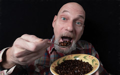 Coffee Bean Crunch, It's What's for Breakfast (The.Mickster) Tags: self portrait fisheye randy 365 beans comical coffee hereios wah
