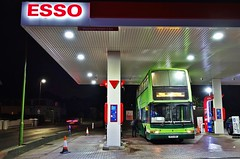 Filling Up (Better Living Through Chemistry37) Tags: v874hby 32874 preservedbuses lowlight nightphotography dennis dennistrident plaxtonpresident plaxton esso busesofsomerset buses transport transportation vehicles vehicle psv