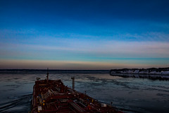 Back on the ship (langdon10) Tags: canada laurentiadesgagnes quebec stlawrenceriver water ship shoreline snow tanker