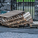 EVERYONE WENT HOME EARLY FOR CHRISTMAS AND DID NOT CLEAR AWAY THE RUBBISH [ABANDONED WOODEN PALLETS - MARKETS AREA OF DUBLIN]-147084