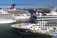Very Busy Cruise Port (Prayitno / Thank you for (12 millions +) view) Tags: norwegian gem crystal symphony carnival conquest cruise ship ships sjc san juan pr puerto rico caribbean port pier day time outdoor sunny blue sky