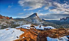 The Fin Red Rock Winter (David Shield Photography) Tags: sedona arizona southwest landscape winter snow sky clouds color light nikon panorama redrocksecretmtwilderness