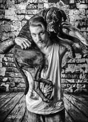 The Wall (tschillpix) Tags: bestfriends puppy boxer photography portrait blackandwhite