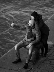 Selfie time part III (Phil*ippe) Tags: blackwhite black white winter portrait people woman selfie smile phone mobile antwerp antwerpen anvers