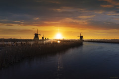 Twight light sunrise (lybil) Tags: alignment antique calm canal center climate country countryside culture dutch ecology energy environment europe field flying frozen geese grass green heritage holland kinderdijk landscape mill nature netherlands old picturesque pinwheel renewable river rotation rural silhouette sky sunrise sunset sustainability sustainable technology traditional turbine unesco vintage warming water wind windmill windmills