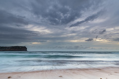 Sunrise Seascape and Cloudy Sky (Merrillie) Tags: daybreak sunrise nature water macmasters centralcoast morning sea newsouthwales rocks earlymorning nsw dawn clouds ocean landscape cloudy waterscape coastal macmastersbeach outdoors seascape australia coast sky waves